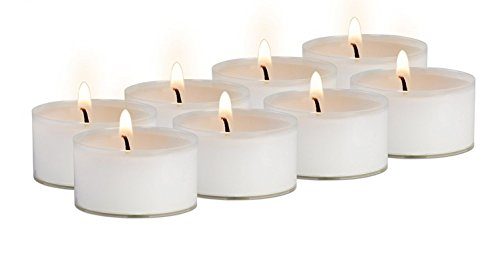 Clear Cup Tea Light Candles - 50 Bulk Pack - White Unscented Travel, Centerpiece, Decorative Candle - 4.5 Hour Burn Time - By Ner Mitzvah Tealight Holder Case