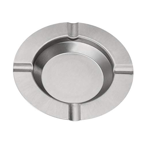 Ashtray,Pinleg Round Stainless Steel Cigarette Lidded Ashtray Silver Portable Useful Ashtray Hotel Home Use Restaurant Bedroom Lightweight And Easy To Carry ()
