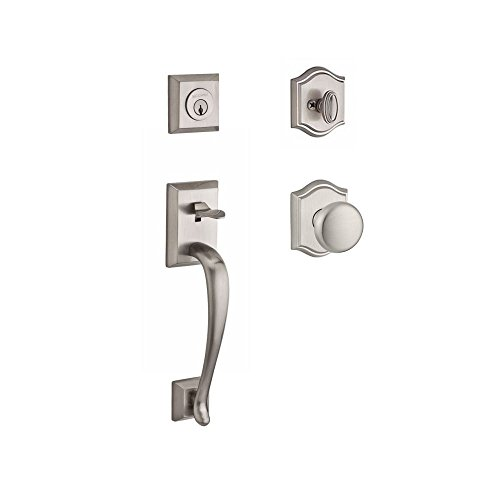 (Baldwin SCNAPXROUTAR150 Reserve Single Cylinder Handleset Napa x Round with Traditional Arch Rose in Satin Nickel Finish)