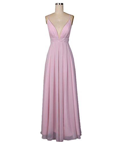 Neck V Fanciest Ballkleid Backless Spaghetti Pink Women's Formelle Abendkleider Pink Kleid Straps qRwtrAIWt