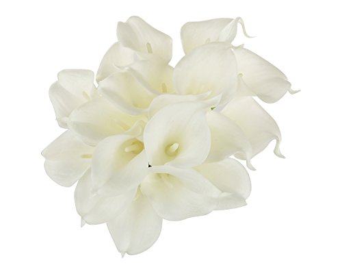 EZFLOWERY 30 Artificial Calla Lily Flowers Real Touch Latex Arrangement Bouquet Wedding Centerpiece Room Office Party Home Decor, Excellent Gift Idea (Small - 30 Pack, White)