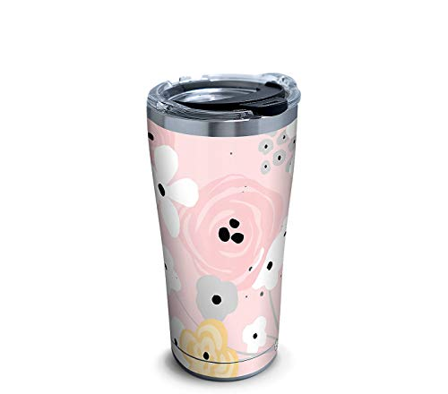 Tervis 1331972 Pink Floral Pattern Stainless Steel Insulated Tumbler with Clear and Black Hammer Lid, 20 oz, Silver (Tumbler Tervis Floral)
