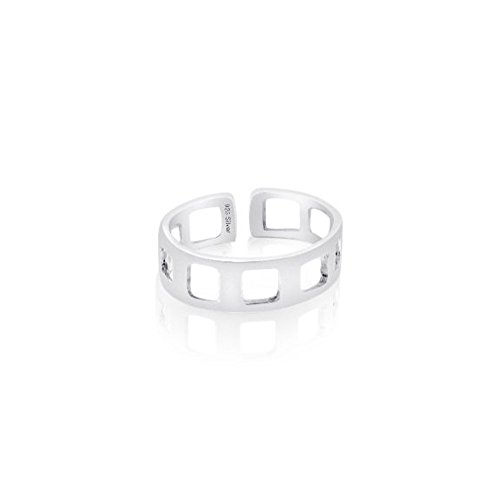 Sterling Silver 925 Cut-off Square Design Toe Ring. Nickel Free Adjustable Fit Solid Band