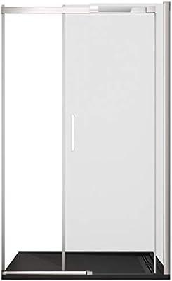 Olimpo - Mampara de Ducha de 195 cm de Altura, Puerta corredera de Cristal de 8 mm, Transparente: Amazon.es: Hogar