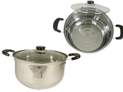 2-Handled Pot Size: 10.25'' Dia x 5.5'' H , Case of 24 by DollarItemDirect