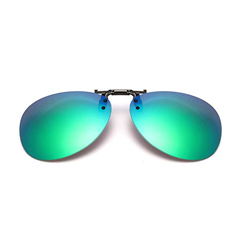 GAMT Clip-on Flip up Sunglasses Over Reading Glasses Color Polarized Invisible Transparent Clip Sunglasses Lenses Green