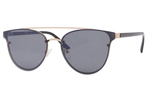 Cheapass Lunettes de Soleil Rondes noires Bleus Reflétées UV-400 Lunettes de soleil designer intello Geek allure intelligente Unisexe Noir1