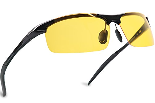 Mens Womens Night Vision Driving Polarized Sports Design Anti Glare Glasses with Yellow Lens for Outdoor Activities Sunglasses (BlackSports, - Top Glasses Driving Rated Night