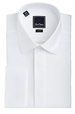 David Donahue Men's Diamond Pattern Covered Placket Trim Fit Formal Tuxedo Shirt