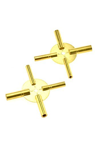 SE JT6336-2 Universal 4 Prong Brass Clock Key for Winding Clocks, Odd and Even Numbers, 2 Piece by SE