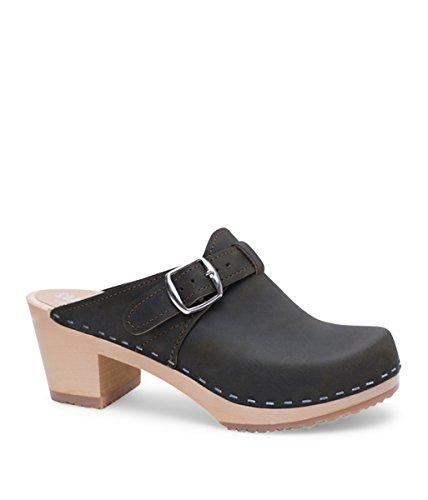 Sandgrens Swedish High Heel Wooden Clog Mules Women | Nashville Olive
