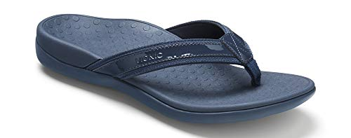 Vionic Women's Tide II Toe Post Sandal - Ladies Flip Flop with Concealed Orthotic Arch Support Navy 7 M US