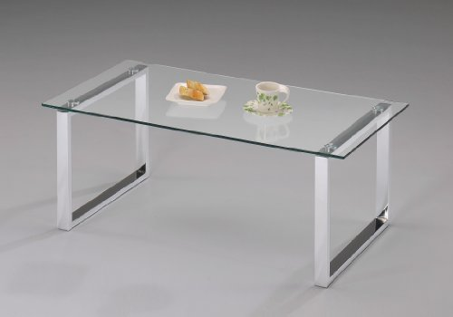 King's Brand Modern Design Chrome Finish With Glass Top Cocktail Coffee Table