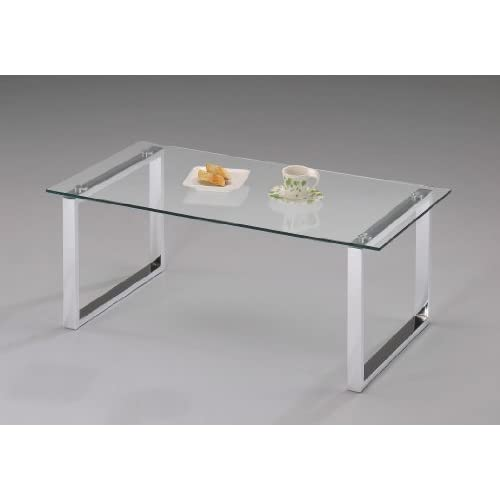 Kings Brand Modern Design Chrome Finish With Glass Top Cocktail Coffee Table