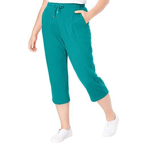 Waist Adjustable Capri - Woman Within Women's Plus Size Sport Knit Capri Pant - Waterfall, 4X