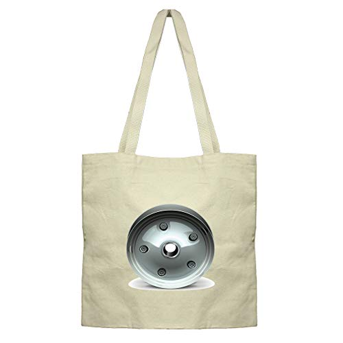 Wheel Disk Grey Car Auto Cotton Canvas Flat Market Tote Bag