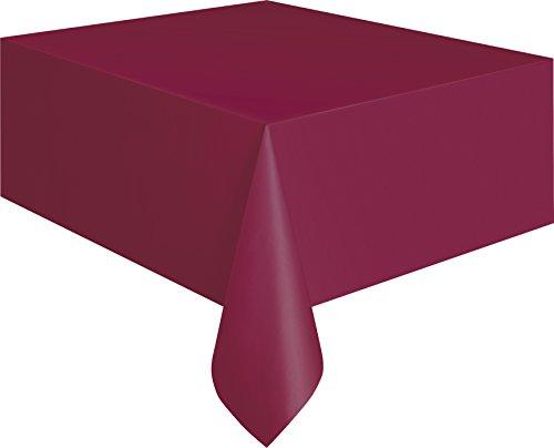 "Burgundy Plastic Tablecloth, 108"" x 54"""