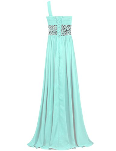 Cyan Shoulder Dresses One ANTS Long Crystal Gowns Chiffon Prom Evening qWznP5O