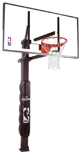 "Spalding NBA In-Ground Basketball System - 54"" Steel Framed Glass Backboard"