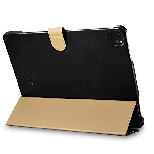 "Burkley Case Turner Premium Genuine Leather Smart Leather Folio Cover with Magnetic Flap Compatible with iPad Pro 12.9"" (4TH Gen 2020 Version) (Black)"