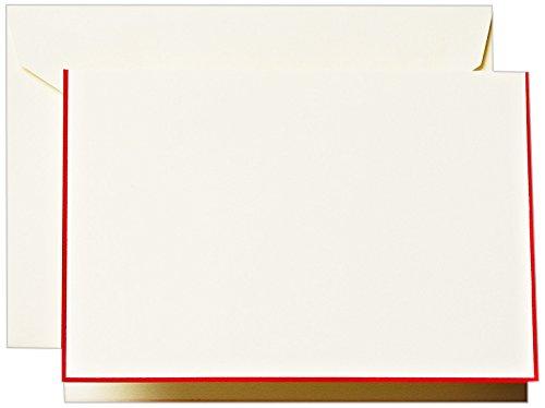 Crane & Co. Red Bordered Ecruwhite Note (CF1440)