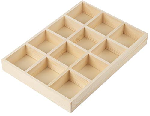 Wooden Drawer Organizer - Desk Organizer, Divided Storage Box, Display Tray, for Small Items, Miniature Plant, Jewelry, Craft, Stationary, 12 Grids, Natural Brown, 13.2 x 9.2 x 1.58 Inches ()