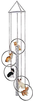 StealStreet SS-G-155.44 Wind Chime 5-Ring Polyresin Charm Cat Hanging Porch Garden Decoration