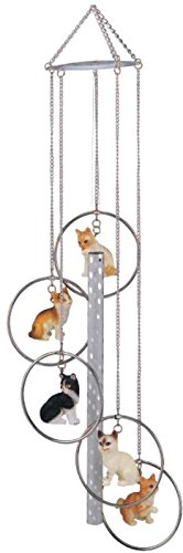 StealStreet 5 Ring Polyresin Charm Cat Hanging Porch Garden Decoration Wind - Chime Harp