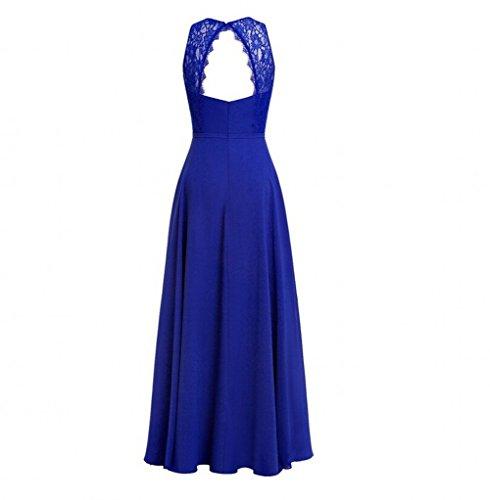 AK Prom Crew Dresses Chiffon Lilac Bridesmaid Gown Women's Neck Lace Beauty Long rq7zHr