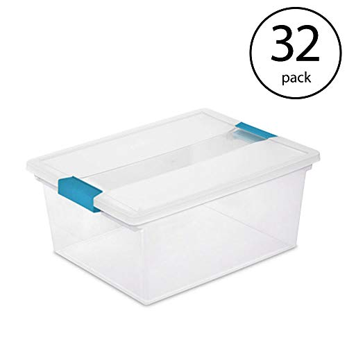 (STERILITE Deep Clip Box Clear Plastic Storage Tote Container with Lid (32 Pack))