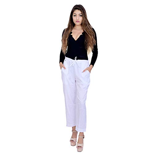 Women White Cotton Khadi Pant Trousers with Styled Lace (Suitable for Waist Sizes 28 to 38 Inches)