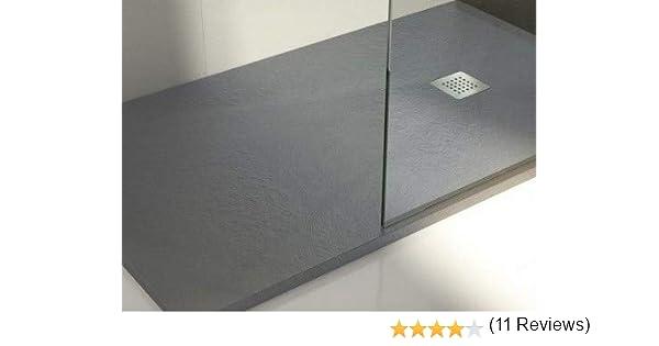 Plato de ducha de resina con carga mineral 70x80 cm Gris cemento ...