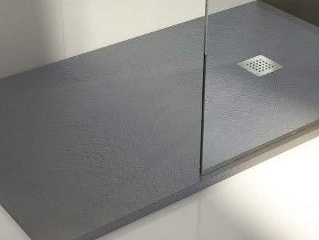 Plato de ducha de resina con carga mineral 120x90 cm Gris cemento ...