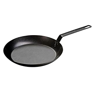 Lodge 12 Inch Seasoned Carbon Steel Skillet. Large Steel Skillet for Family Size Cooking.