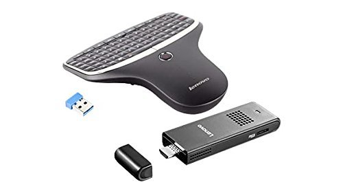 Lenovo Ideacentre Stick 300 Mini Desktop (Intel Atom Z3735F, 2 GB RAM, 32GB eMMC, Windows 10) and Lenovo N5902 Enhanced Multimedia Remote with Backlit Keyboard Bundle by Lenovo