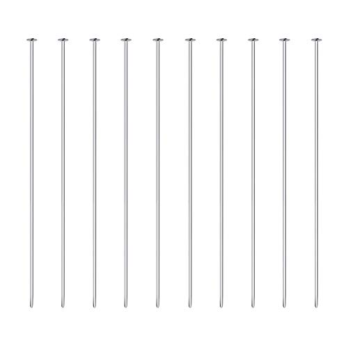 BENECREAT 20PCS Sterling Silver Flat Head Pins 24 Gauge Satin Pins for DIY Jewelry Making Findings - 40mm (1.6