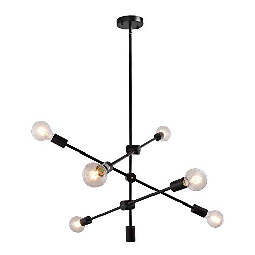 KOSTOMO Modern Black Sputnik Chandelier 6 Lights Ceiling Light Fixture Pendant Dining Kitchen Island Bedroom Lighting