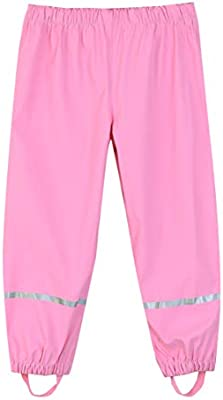 Hiheart Boys Girls Waterproof Rain Pants Lightweight Single Layer Overpants Rainwear