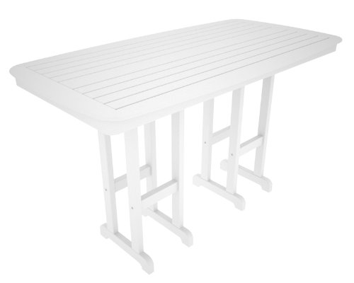 (Polywood NCBT3772WH Nautical 37 Inch x 72 Inch Bar Table in White)