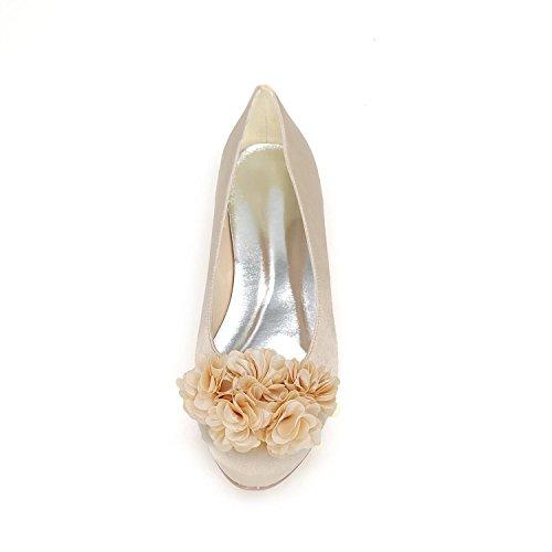 L@YC Mujeres De La Boda De Tacones altos De OtoñO Y El Invierno De Gran TamañO De TamañO De Pelota De Zapatos Multicolores White