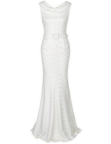 MUXXN Women's Pinup 1950s Style Slash Neck Sleeveless Vintage Wedding Lace Long Dress (White Lace S)