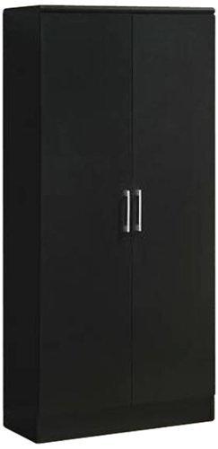 (Hodedah 2 Door Wardrobe with Adjustable/Removable Shelves & Hanging Rod, Black)