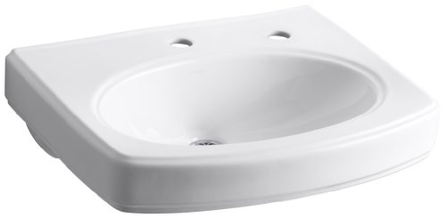White Pinoir Bathroom Sink - Kohler K-2028-1R-0 Pinoir Lavatory Basin with Single-Hole Faucet Drilling and Right-Hand Soap/Lotion Dispenser, White