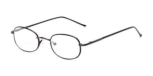 Readers.com Reading Glasses: The Memphis Bifocal Reader, Metal Oval Style for Men and Women - Black and Tortoise, 1.50 (Ovale Gläser)