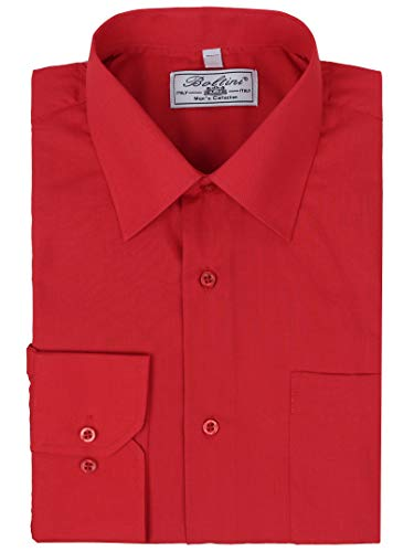 Boltini Italy Men's Classic Solid Long Sleeve French Convertible Cuff Dress Shirt (Red, Large 32/33)