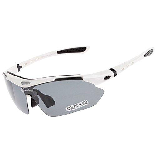 Rockbros Unisex Polarized Sport Sunglasses with 4 Interchangable Lenses for Fishing/Running/Cycling/Biking/Baseball, TR90 Unbreakable, UV 400 Protection
