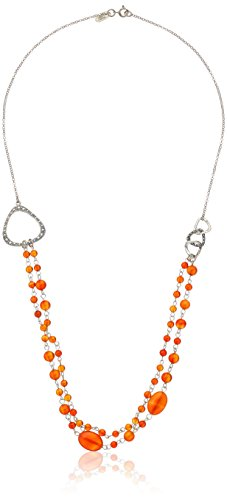 Sterling Silver Marcasite and Sardonyx Bead Necklace, 24