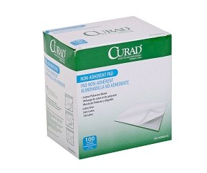 Curad Sterile Non-Adherent Pads (Pack of 100) for gentle wound dressing and absorption without (Non Adherent Sterile Gauze Dressing)