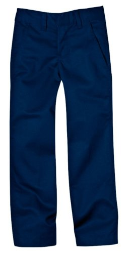 Navy School Uniform Pants (Dickies Little Boys' Uniform Flex Waist Flat Front Pant, Dark Navy, 7)