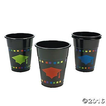 Fun Express 50 Plastic Graduation Disposable Cups/Red, Blue, Green Caps/Graduation Party Supplies and Tableware